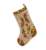 Upcycled Christmas Stocking -  Bell Pepper Pattern