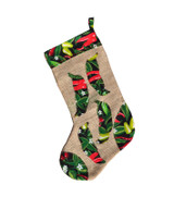 Upcycled Christmas Stocking - Red and Green Chile w/White Blossoms
