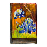 vintage tin painting - bluebonnet and bee