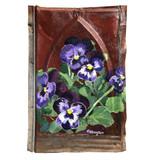 vintage tin painting - purple pansies
