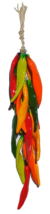 "Large Multi-colored Ceramic Chile Strand is a beautifully designed piece that measure approximately 27"" from top to bottom.  The measurement of the ceramic portion of chile strand is approximately 21"" with a topper which is approximately 5"" - 6"".  The twine topper has several loops that is for the use of hanging this beautiful Southwestern ornament."