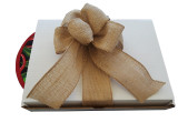 A white, sturdy gift box with an burlap box is provided for a small additional fee.