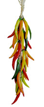 """The medium multi-colored chile strand measures approximately 20"""" from top to bottom.  The ceramic portion of the strand measures approximately 15.5"""".  Each individual chile measures approximately 3.5"""".  The twine topper measures approximately 4"""".  It includes several loops from which the ornament can be hanged."""