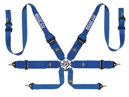 Sparco 6 Point Harness HANS Blue