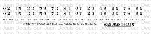 Decal printed in white, use to re-number Blackstone 3000 series box cars.