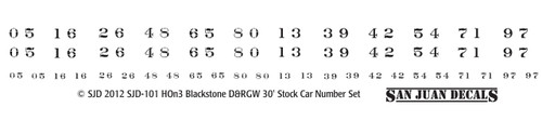 HOn3 D&RGW 5500-5800 Stock Car Renum Set for Blackstone (white)
