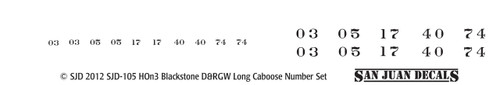 HOn3 D&RGW Long Caboose Renum Set for Blackstone (white)