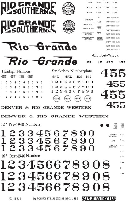 Decal sheet layout for Sn3 D&RGW/RGS locomotive decal (printed white).