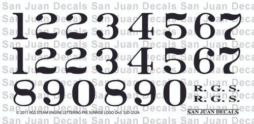Decal sheet for SJD 252a Pre-Sunrise Herald RGS locomotives.