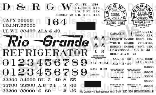 "1/2""n3 D&RGW #150-169 40' Refrigerator Car"