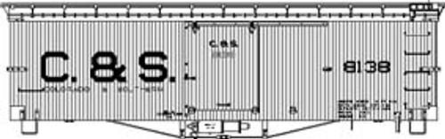 Sn3 C&S 30' Box Car Block Lettering