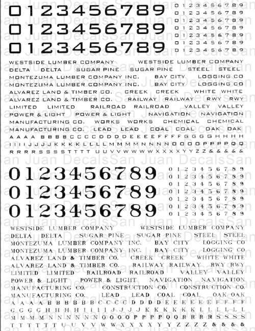 THis decal sheet, actually printed in white, can be used on any On30, On3 or O geared locomotive.