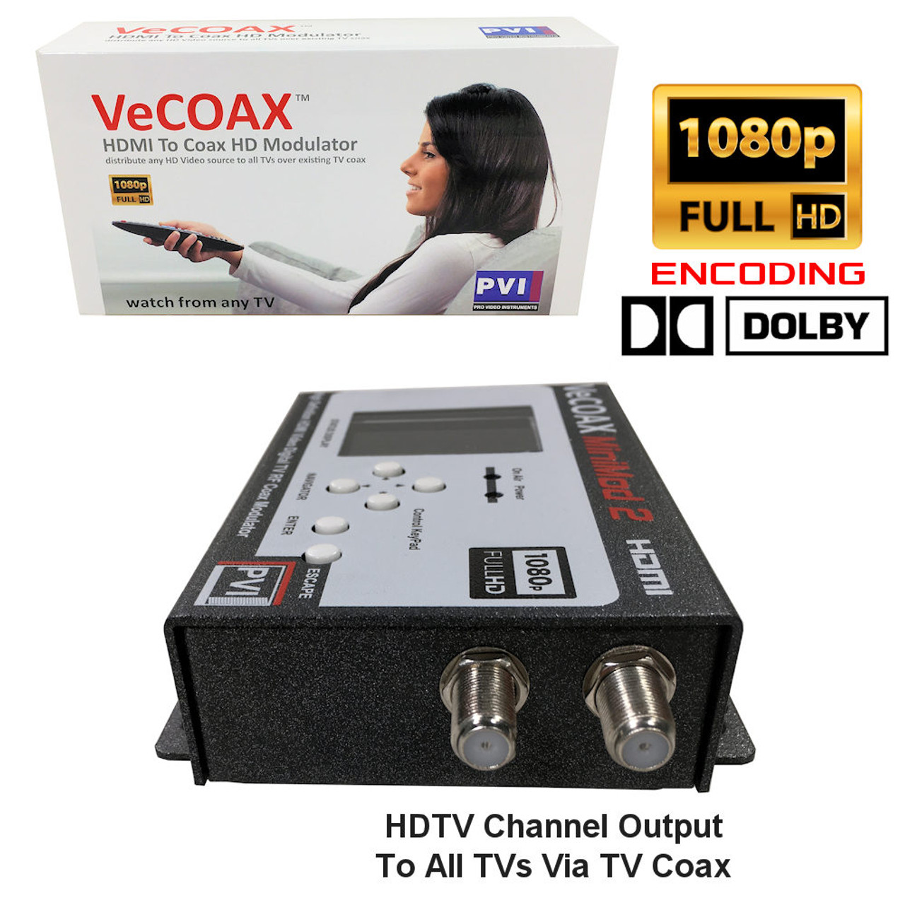 VeCOAX Minimod 2 1080p Full HD Dolby Ultra Compact Digital TV Modulator