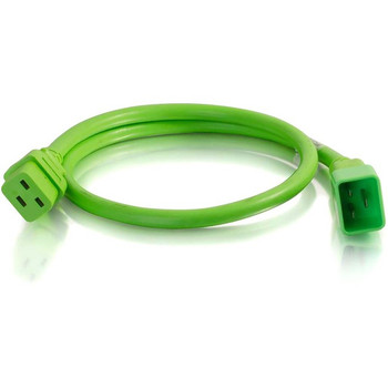 C2G 3ft 12AWG Power Cord (IEC320C20 to IEC320C19) - Green