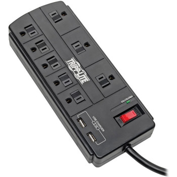 Tripp Lite Surge Protector Power Strip 8-Outlet 2 USB Charging Ports 8ft Cord