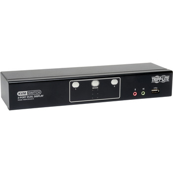 Tripp Lite 2-Port Dual Monitor DVI KVM Switch with Audio and USB 2.0 Hub, Cables included