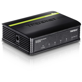 TRENDnet 5-Port Unmanaged 10/100 Mbps GREENnet Ethernet Desktop Plastic Housing Switch; 5 x 10/100 Mbps Ports; 1Gbps Switching Capacity; TE100-S5