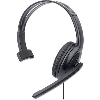 Manhattan Mono Over-Ear Headset (USB), Microphone Boom (padded), Retail Box Packaging, Adjustable Headband, In-Line Volume Control, Ear Cushion, USB-A for both sound and mic use, cable 1.5m, Three Year Warranty 179874