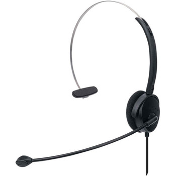 Manhattan Mono On-Ear Headset (USB), Microphone Boom (padded), Retail Box Packaging, Adjustable Headband, In-Line Volume Control, Ear Cushion, USB-A for both sound and mic use, cable 1.5m, Three Year Warranty 179867