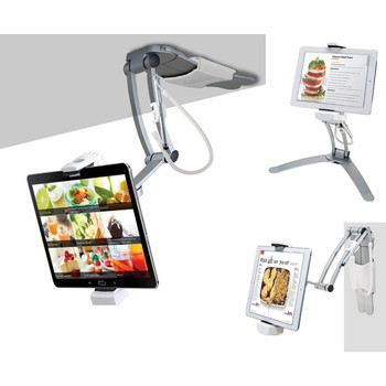 CTA Digital PAD-KMS 2-in-1 Kitchen Mount Stand for iPad and Tablets PAD-KMS