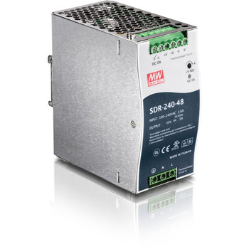 TRENDnet 240W Single Output Industrial DIN-Rail Power Supply, Extreme Operating Temp Range -25 to 70 °C(-13 to 158 °F) Built-in Active PFC, Passive Cooling, DIN-Rail Mount, Silver, TI-S24048 TI-S24048