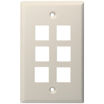 6-Port Standard Size Keystone Wall Plate (Lite Almond)