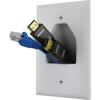 DataComm 45-0011-WH 1-Gang Midsize Recessed Low-Voltage Cable Plate