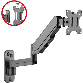 """High Premium Aluminum Gas Spring Wall Mount - Single Monitor 17"""" to 32"""""""