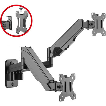 """High Premium Aluminum Gas Spring Wall Mount - Dual Monitor 17"""" to 32"""""""