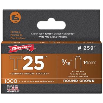 "T25 Round Crown Staples, 9/16""; 1,000 pk"