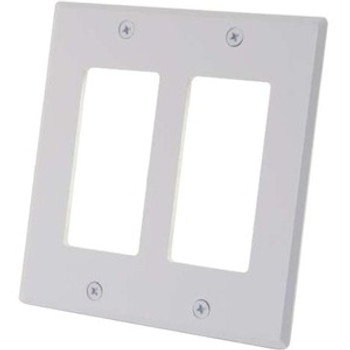 C2G Two Decorative Style Cutout Double Gang Wall Plate - White