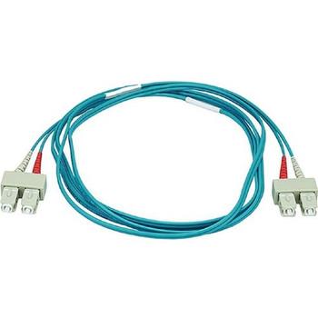 Monoprice 10Gb Fiber Optic Cable, SC/SC, Multi Mode, Duplex - 2 Meter (50/125 Type) - Aqua