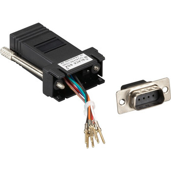 Black Box DB9 Male to RJ45F Modular Adapter Kit with Thumbscrews Black