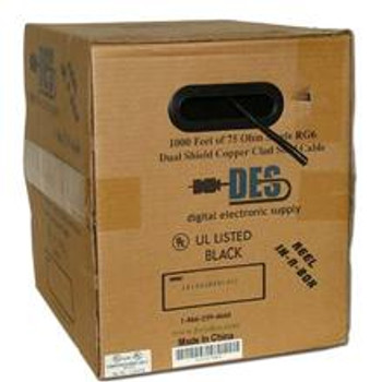 DES RG-6 Single Coax, CCS, Dish Approved, UL, 1000ft, Black
