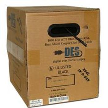 DES RG-6 Single Coax, CCS, Dish Approved, UL, 1000ft, Black