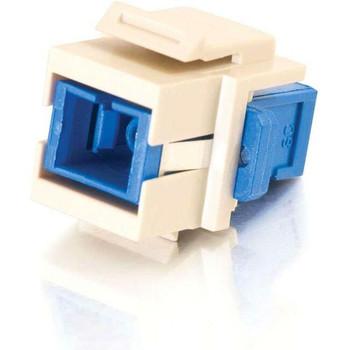 C2G Snap-In SC Fiber F/F Keystone Insert Module - Ivory