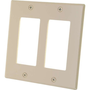 C2G Two Decorative Style Cutout Double Gang Wall Plate - Ivory