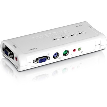 TRENDnet 4-Port PS2 KVM Switch and Cable Kit with Audio, Manage 4 Computers, Windows/Linux, Auto-Scan, VGA/SVGA HDB, 15-Pin, TK-408K