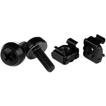 StarTech.com 50pc 10-32 Server Rack Cage Nuts and Screws w/Washers - Network/IT Rack Mount Hardware Kit - Clip/Captive Nuts & Bolts Black
