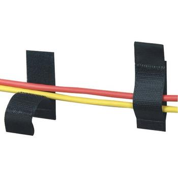 "Black Box Hook and Loop Cable Hanger - 1"" x 2.5"" , Black, 10-Pack"