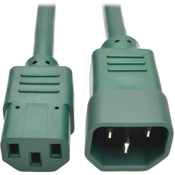 Tripp Lite 2ft Heavy Duty Power Extension Cord 15A 14 AWG C14 C13 Green 2'