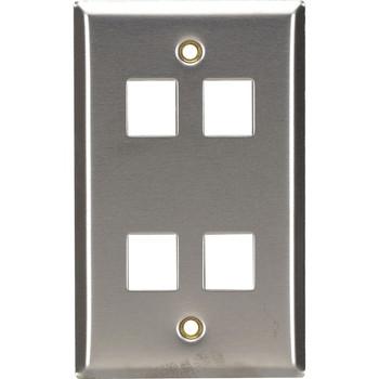 Black Box Stainless Steel Wallplate, Keystone, Single-Width, 4-Punch
