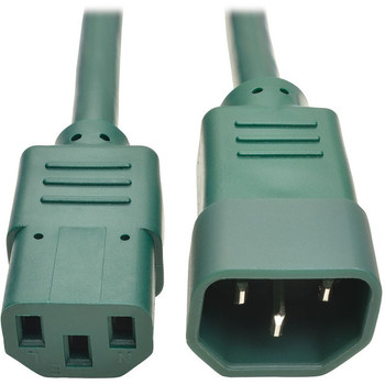 Tripp Lite 2ft Computer Power Extension Cord 10A 18 AWG C14 to C13 Green 2'