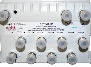PCT-VC-9P Cable TV 9 Port RF Bypass Amplifier with Passive Return with port caps