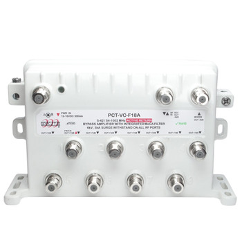 PCT-VCF-18AUPIN RF CATV MoCA Bypass Amplifier with Active Return by PCT Intl.