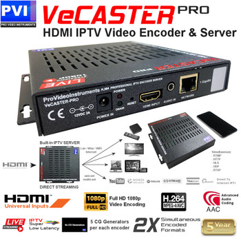 ProVideoInstruments VeCASTER-HD-H264 Professional Single Channel HD 1080p IPTV Encoder