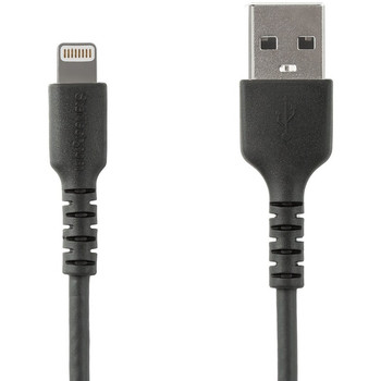 StarTech.com 6 foot/2m Durable Black USB-A to Lightning Cable, Rugged Heavy Duty Charging/Sync Cable for Apple iPhone/iPad MFi Certified