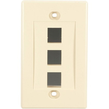 Black Box Connect Wallplate - Single-Gang, Ivory, 3-Port, 10-Pack