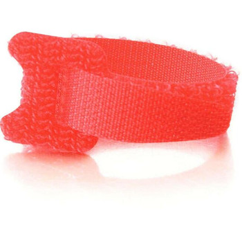 C2G 6in Hook-and-Loop Cable Management Straps - Red - 12pk