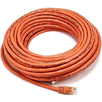 Monoprice 50FT 24AWG Cat6 500MHz Crossover Bare Copper Ethernet Network Cable - Orange